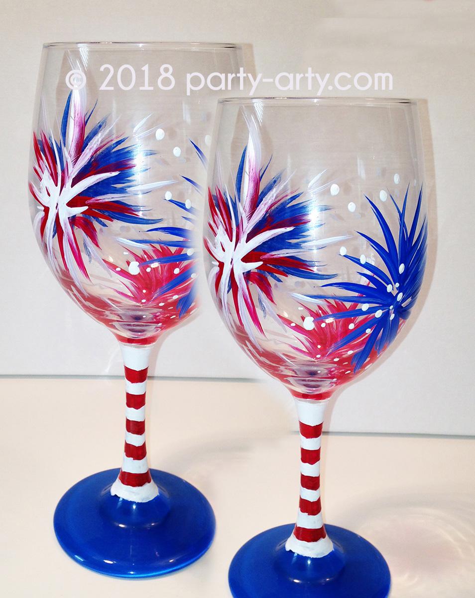 PAIR OF FIREWORKS WINE GLASSES - JUNE 30 -BARREL RUN CROSSING WINERY