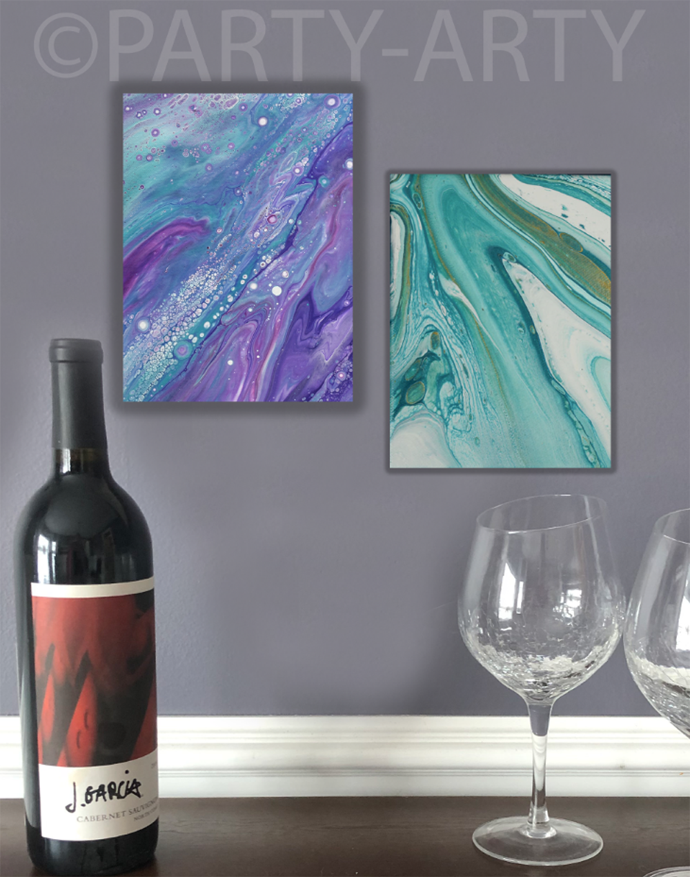 PAIR OF POUR PAINTED CANVASES - AUGUST 25  - BARREL RUN CROSSING WINERY