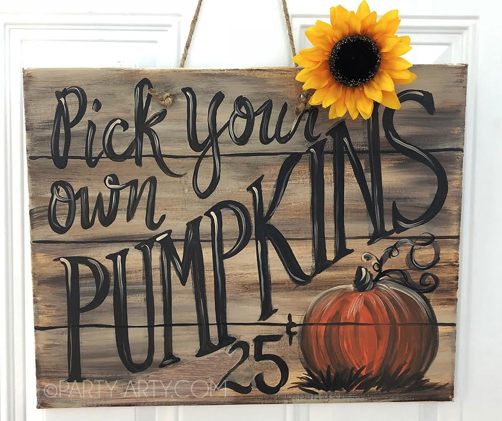 SOLD OUT - PICK YOUR OWN PUMPKINS CANVAS - SEPT 11 - 6PM - NAUTI VINE WINERY
