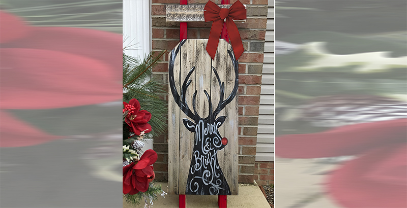 WOODEN SLED WITH REINDEER - DEC 2 - SILVER RUN