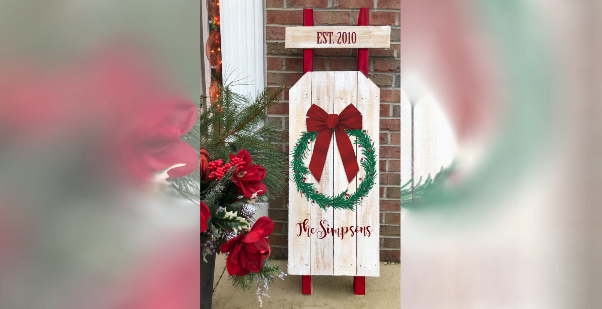 WOODEN SLED WITH WREATH - DEC 2 - SILVER RUN