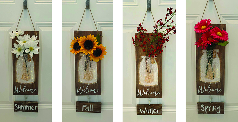 INTERCHANGEABLE SEASON SIGN WITH LIGHTS - SEPT 19 - SILVER RUN (flowers not included)