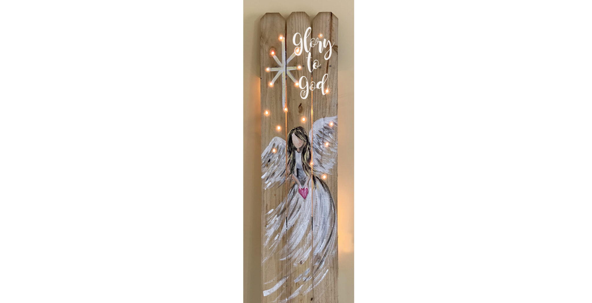ANGEL WITH LIGHTS FENCE - NOV 19 - 6PM EYE CANDY HAIR STUDIO (Your choice of words)
