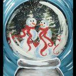 snowman snow globe – framed